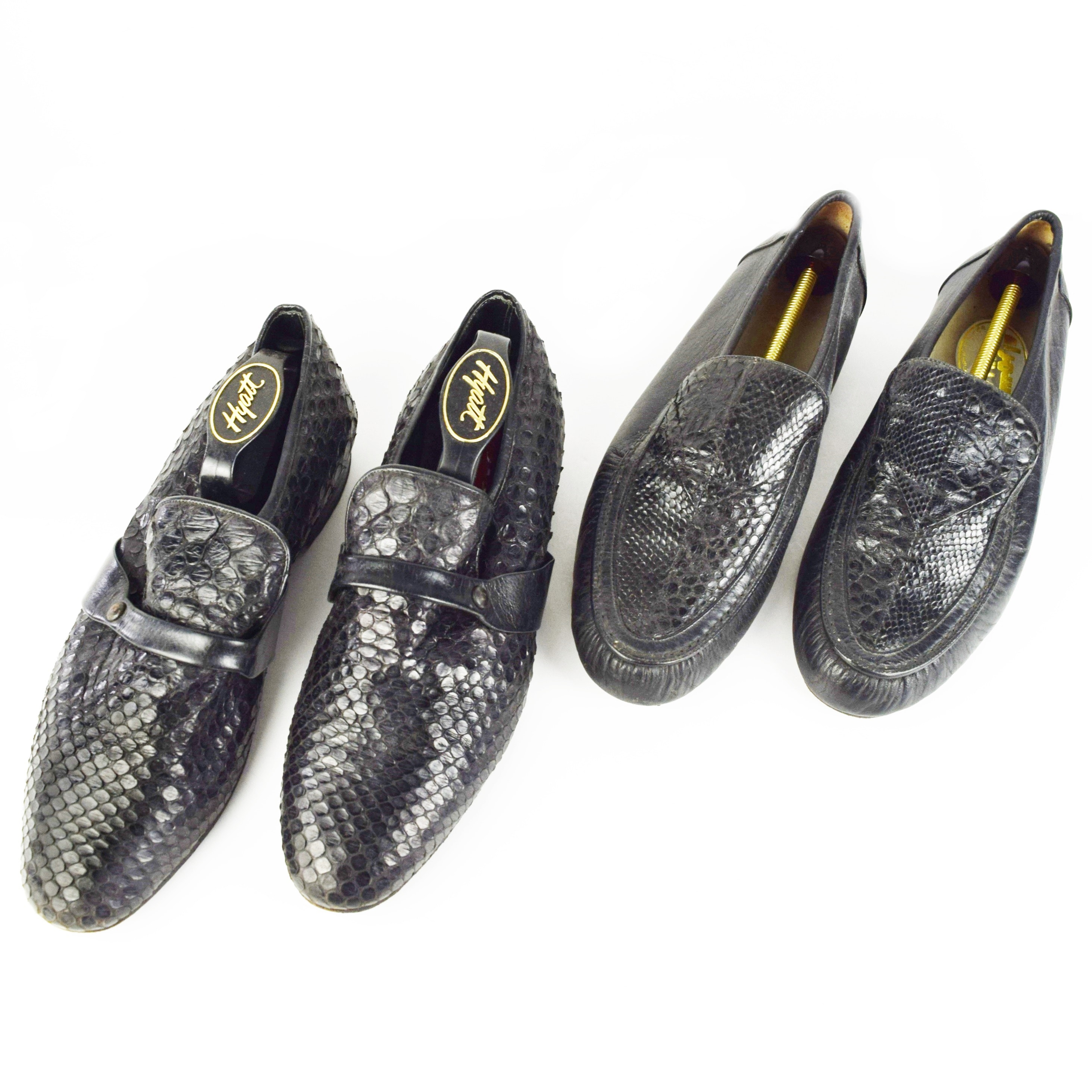 Two Pair of Mens Snakeskin Loafers, Made in Egypt, Size 43