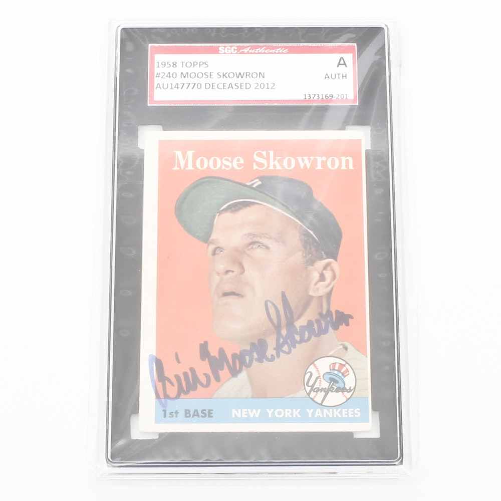 "SGC Graded Autographed Bill ""Moose"" Skowron Baseball Card"