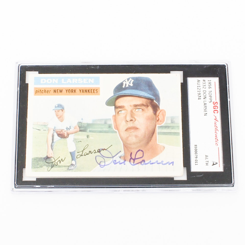 SGC Graded Authentic Autographed Baseball Bard Card of Don Larson