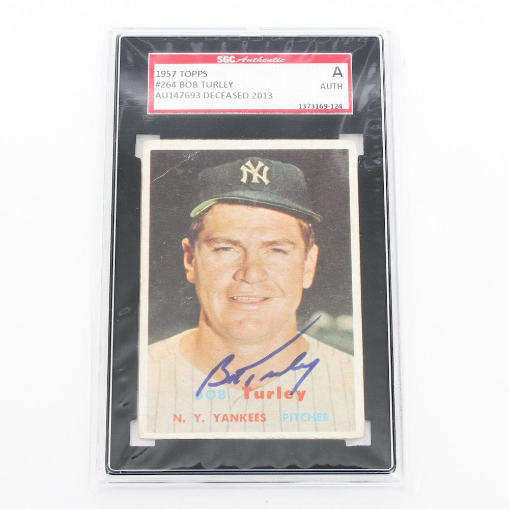 SGC Graded Authentic Autographed Baseball Bard Card of Bob Turley