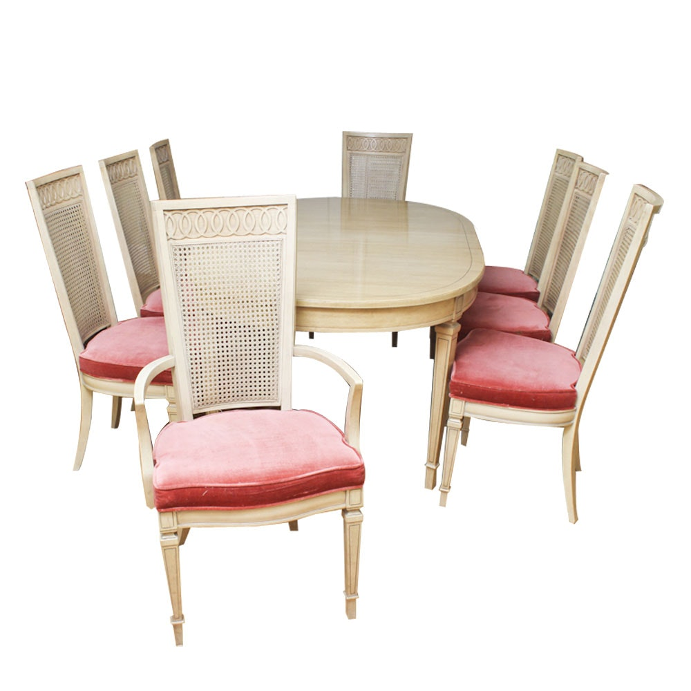 Blonde Dining Table and Cranberry Upholstered Chairs