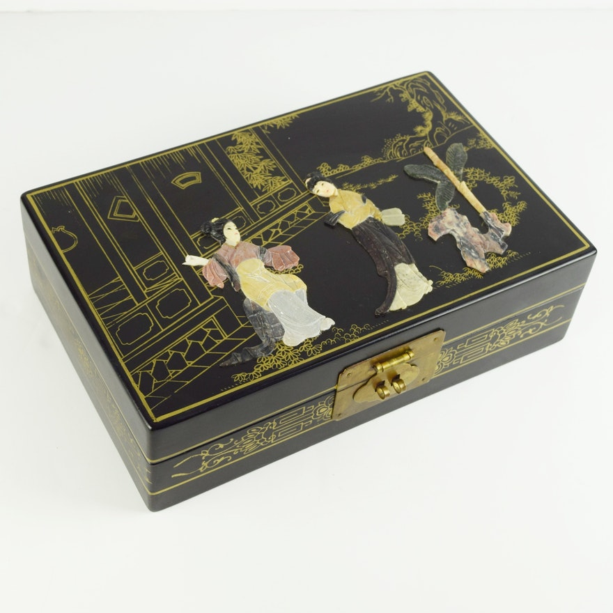 Chinese Black Lacquer Jewelry Box With Carved Figures In Stone
