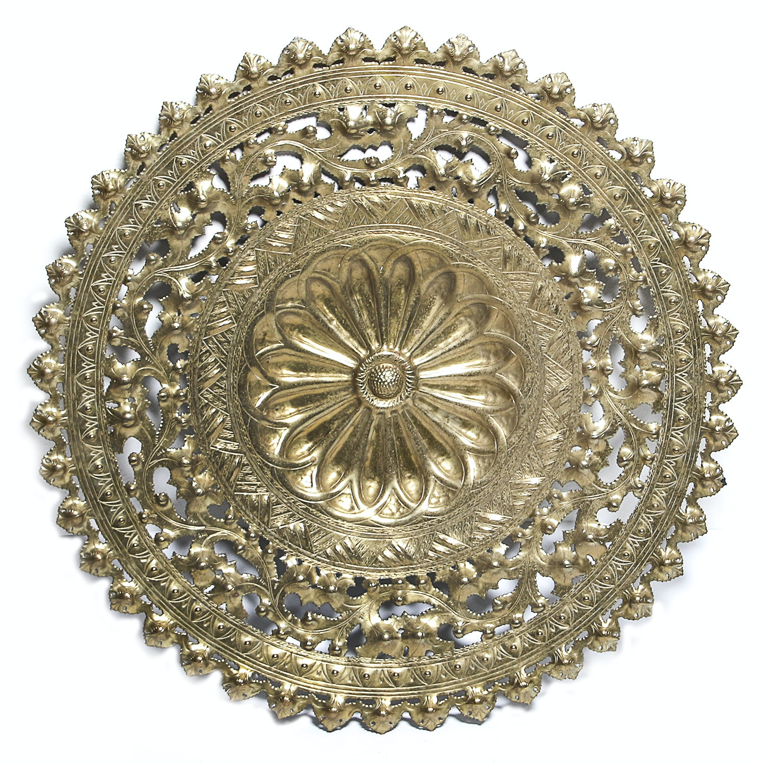 Large Round Brass Cut-Out Decor
