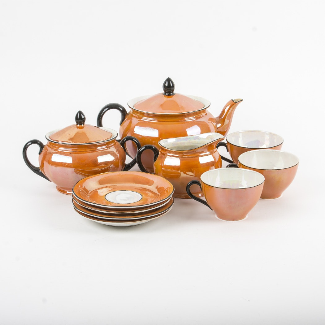 Orange Iridescent Czechoslovakian Tea Set
