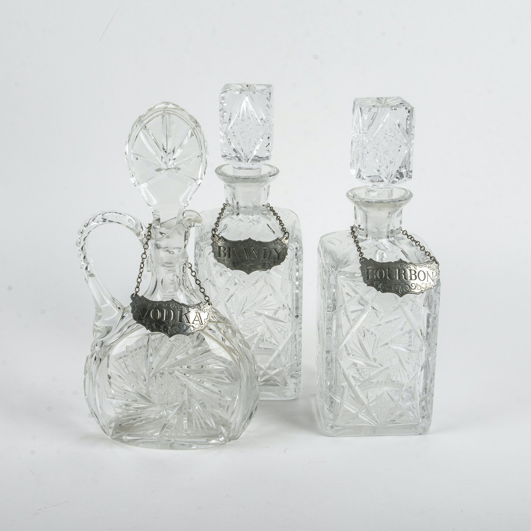 Set of Crystal Decanters