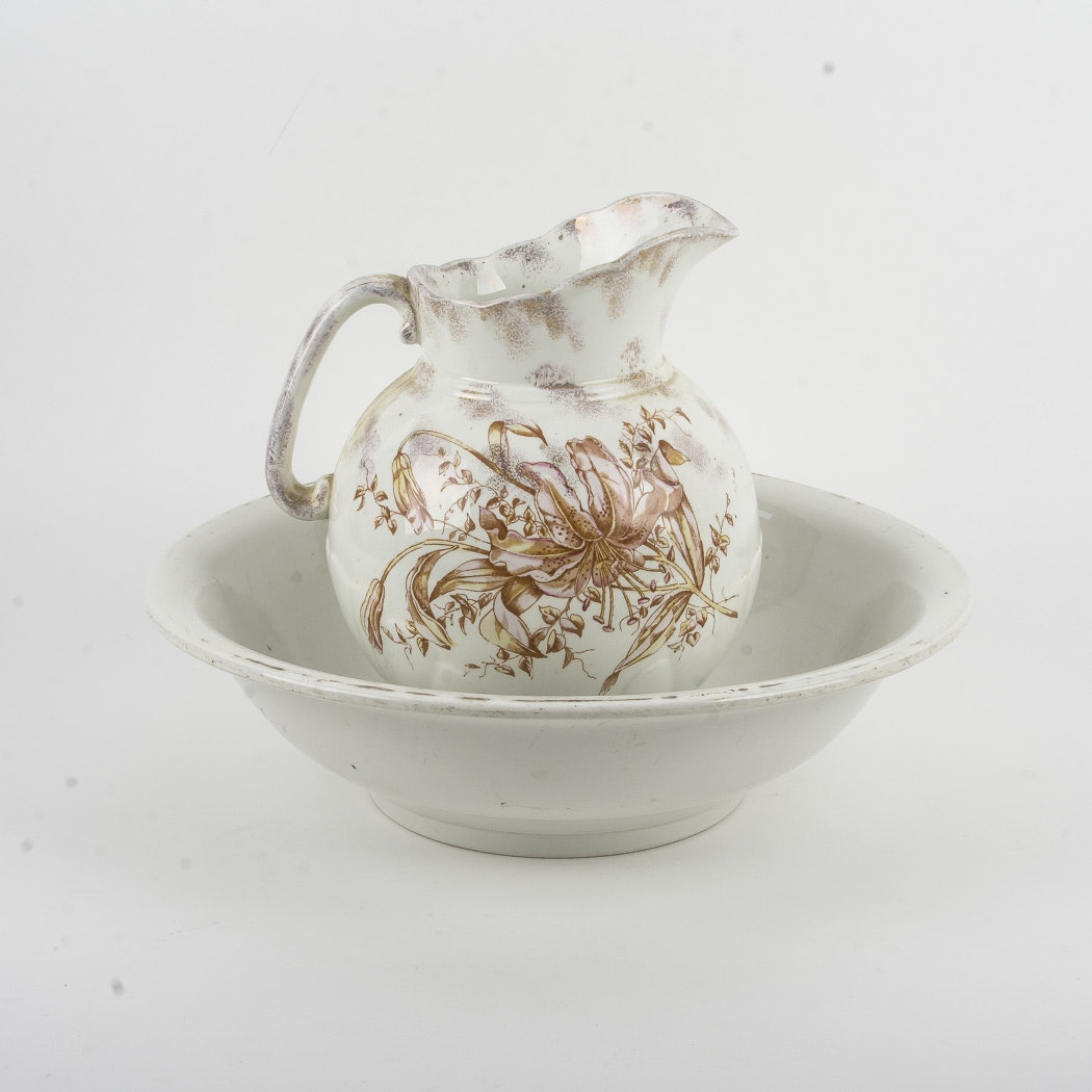 Porcelain Washbowl and Pitcher