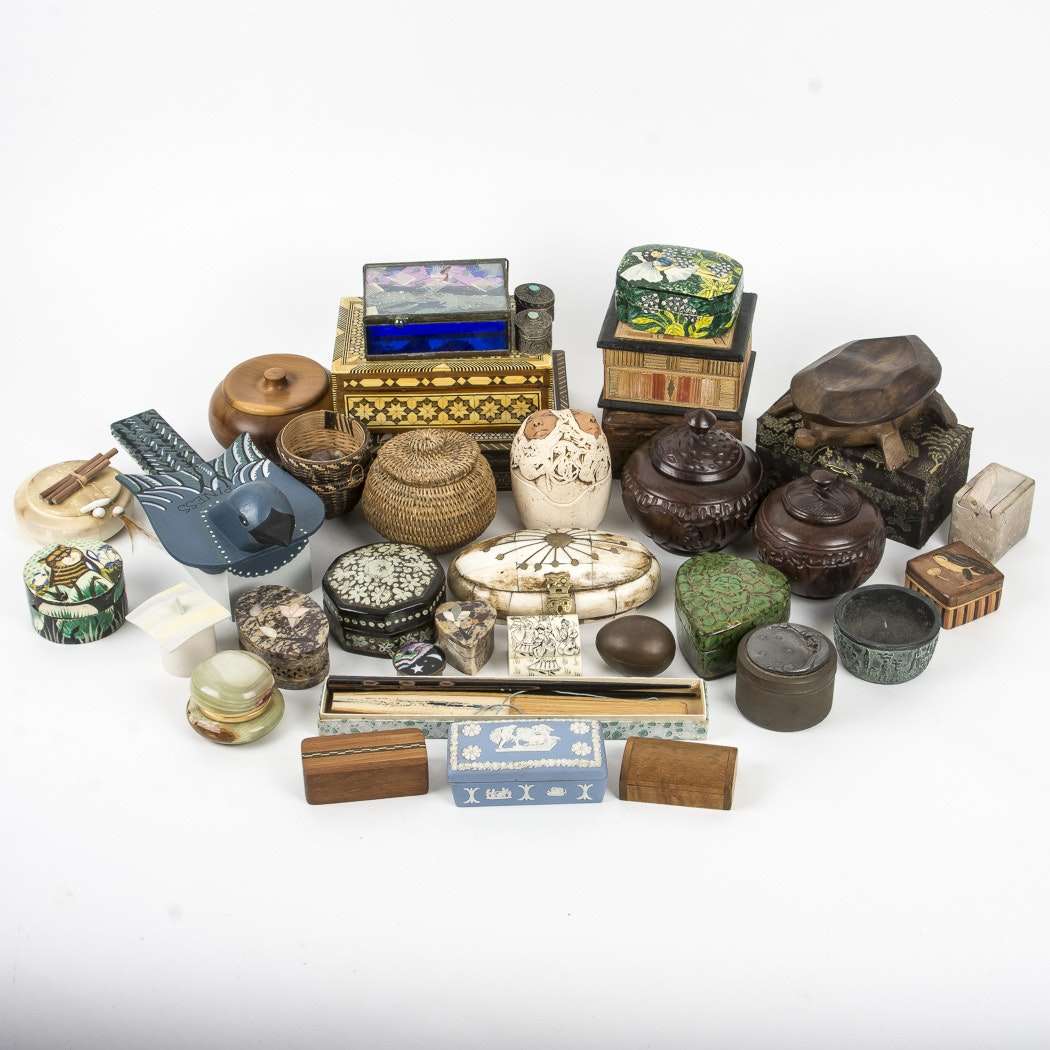 Variety of Stone, Lacquered, Wood, and Ceramic Trinket Boxes