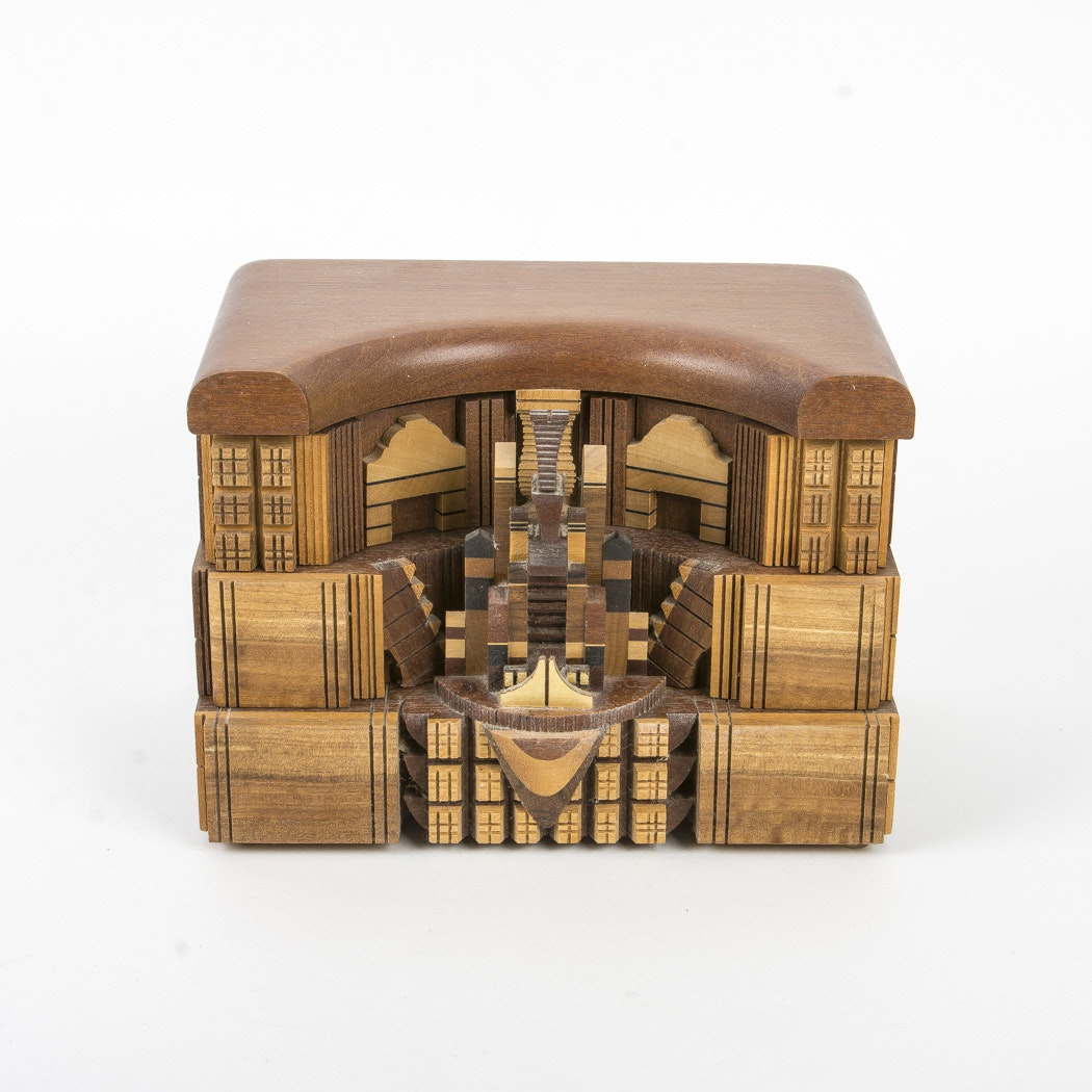 Carved Wood Box with Rotating Drawers