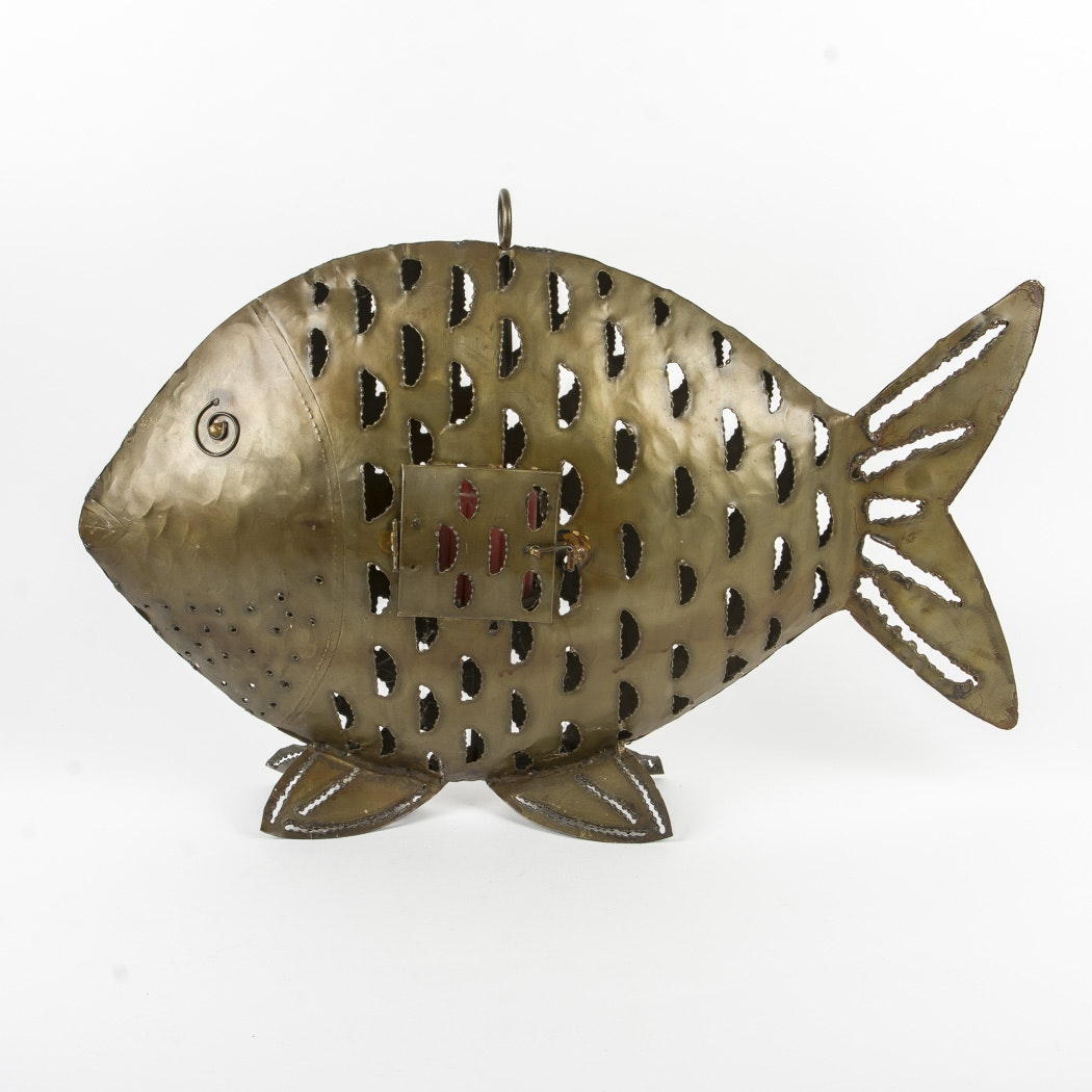 Large Metal Fish Candle Holder