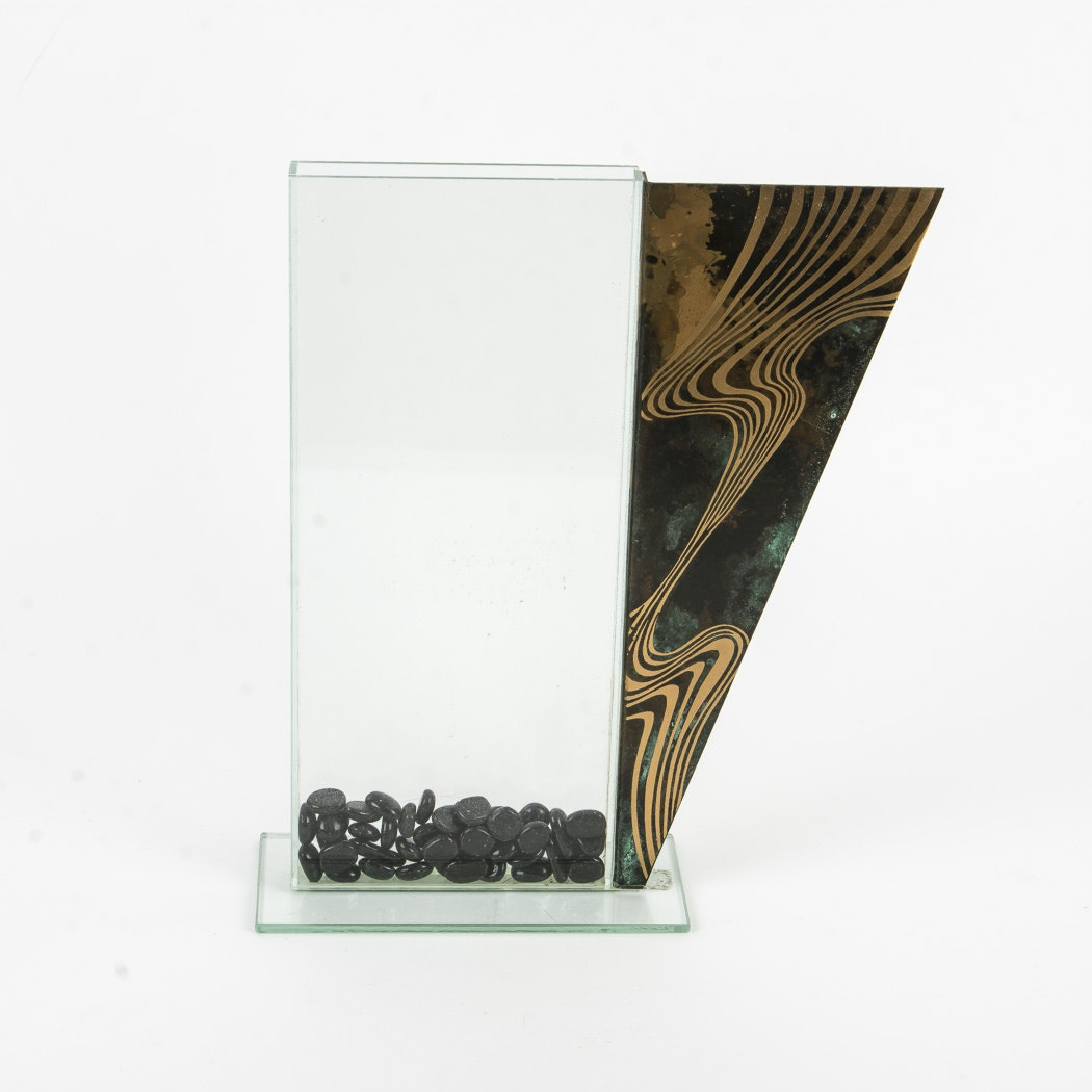 Glass and Metal Vase