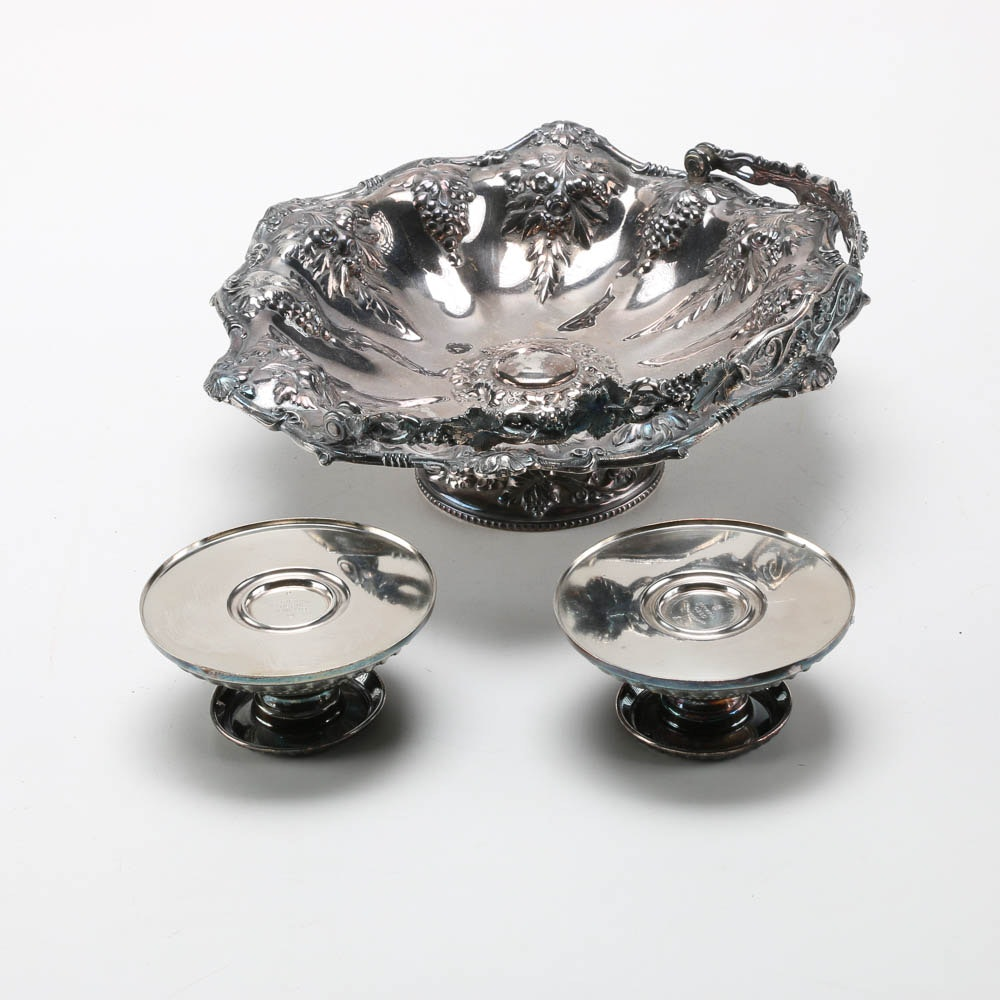 Silver Plate Serving Dish and Silver Soldered Candle Holders