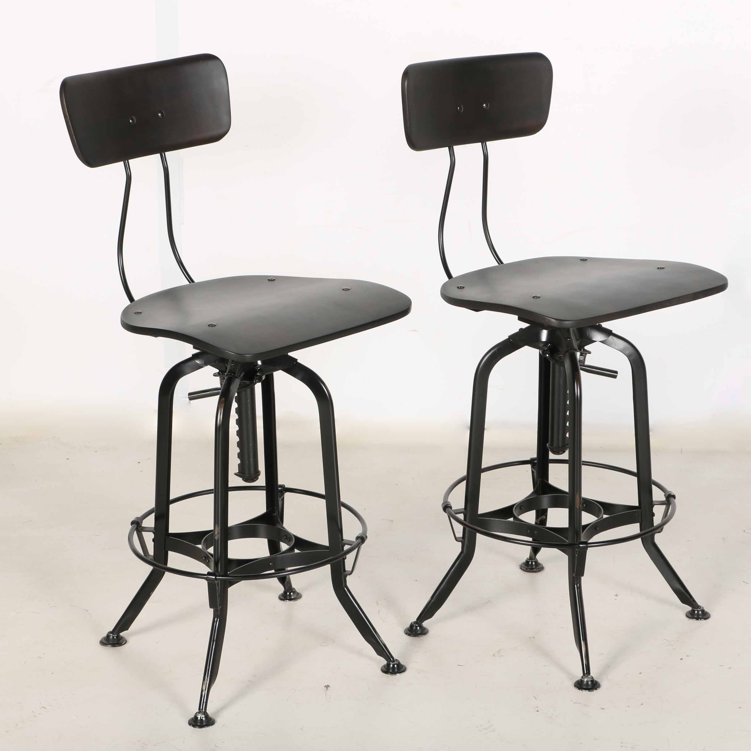 Black Toledo Style Metal Bar Stools From Restoration