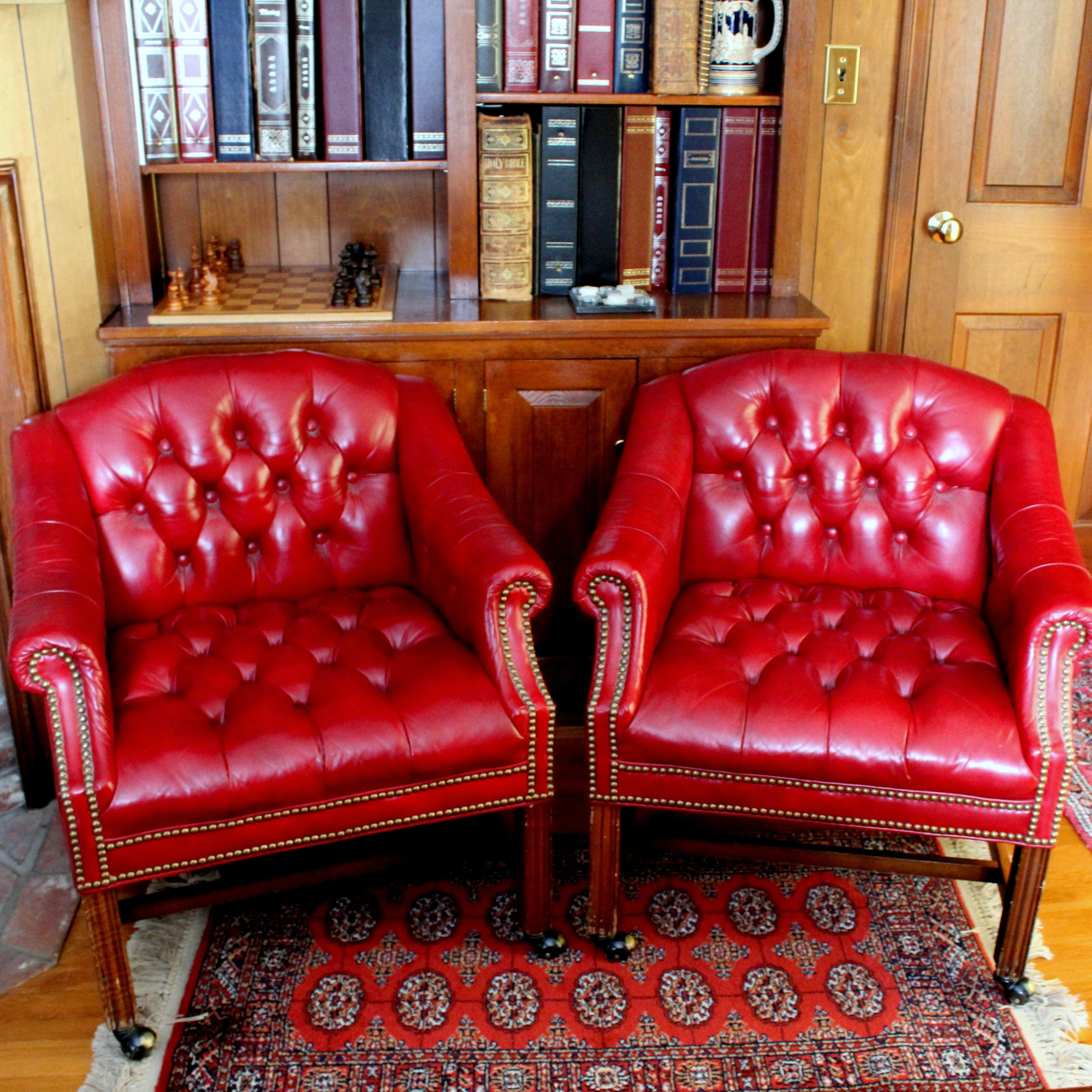 Vintage Georgian Style Button-Tufted Library Armchairs