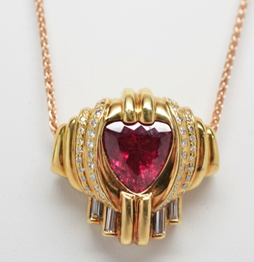 18k yellow gold pink tourmaline and diamond pendant and. Black Bedroom Furniture Sets. Home Design Ideas