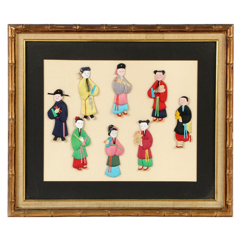 Chinese Silk Applique Figures