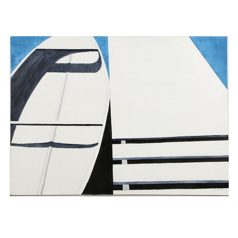 """Ann Sklarin Acrylic Painting on Canvas """"Canoe: 10"""""""