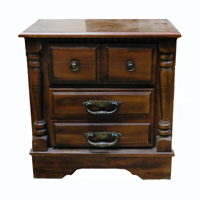 Two drawer wooden nightstand ebth for Wood nightstand with drawers
