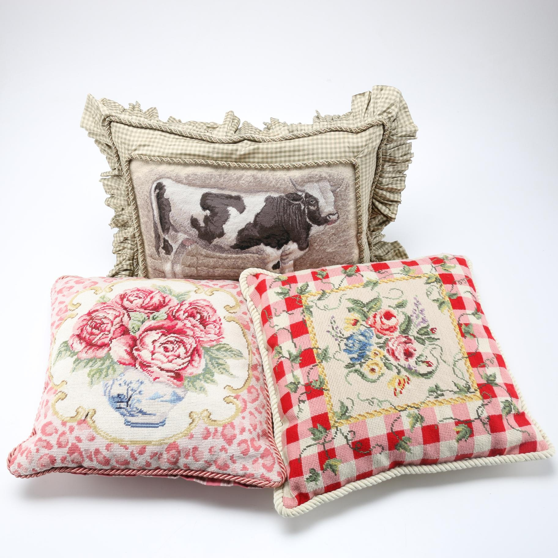 Country Chic Needlepoint Accent Pillows