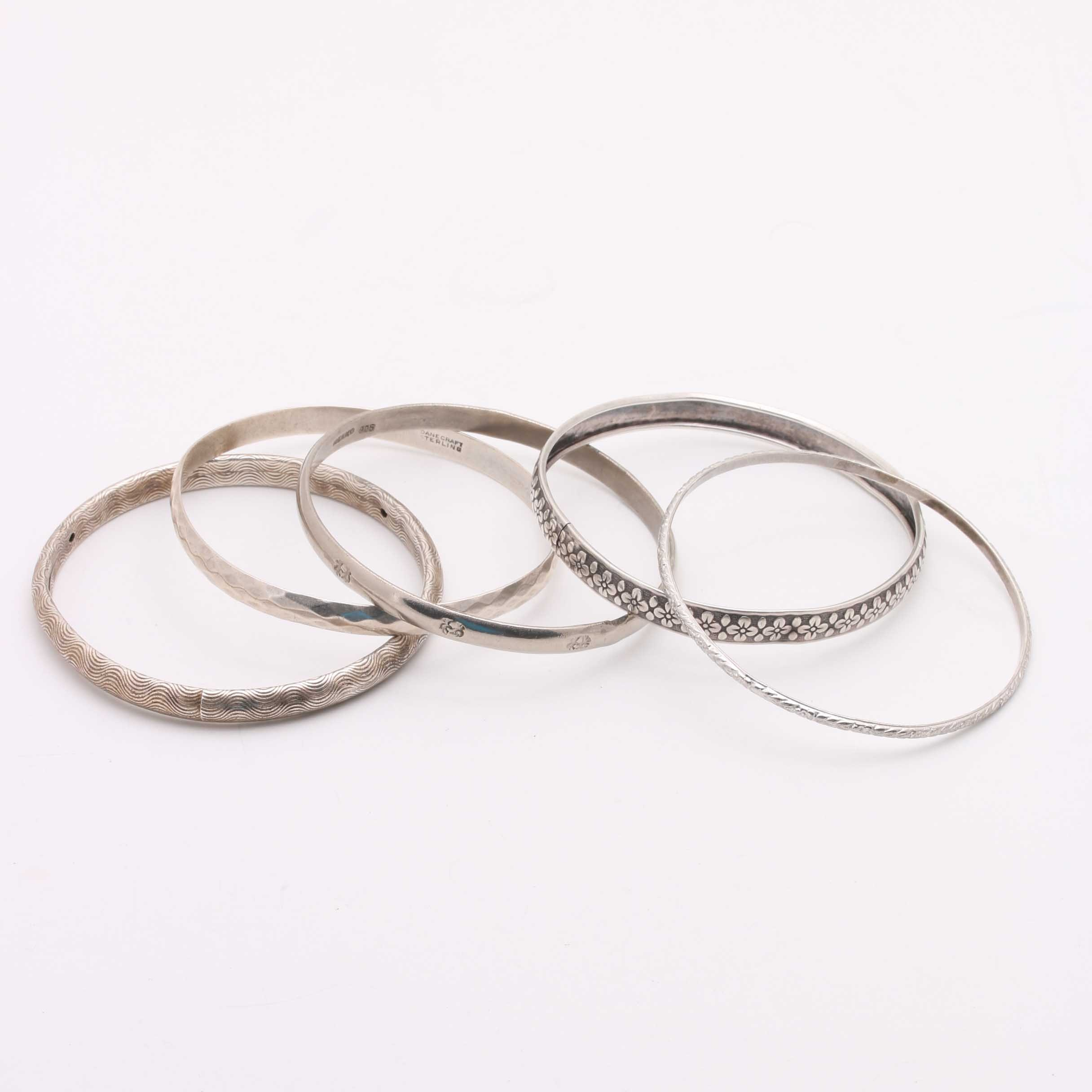 Assortment of Sterling Silver Bangles with Danecraft