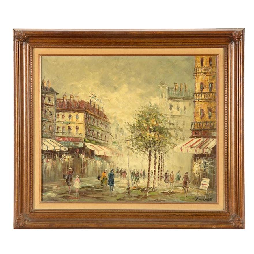 Caroline Burnett Original Parisian Street Scene Oil on Canvas