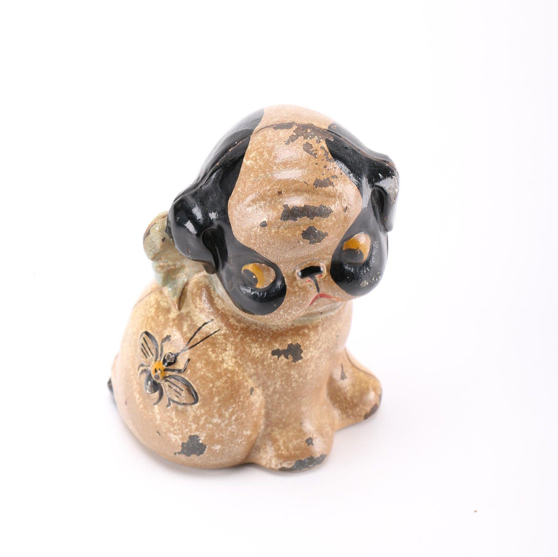 """Circa 1920 Hubley """"Puppo"""" Cast Iron Coin Bank"""