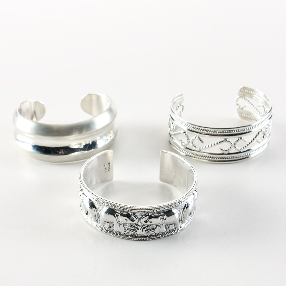 Group of Sterling Silver Cuff Bracelets