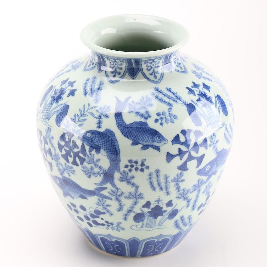Chinese Blue And White Porcelain Koi Fish Vase Ebth
