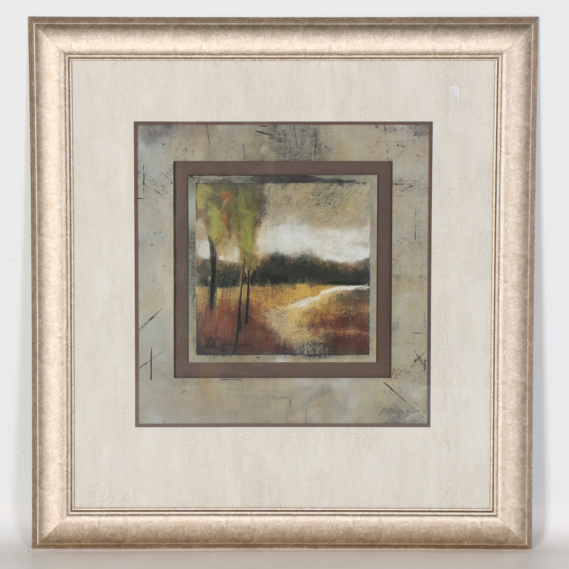 Framed Lithograph of Landscape under Stormy Skies