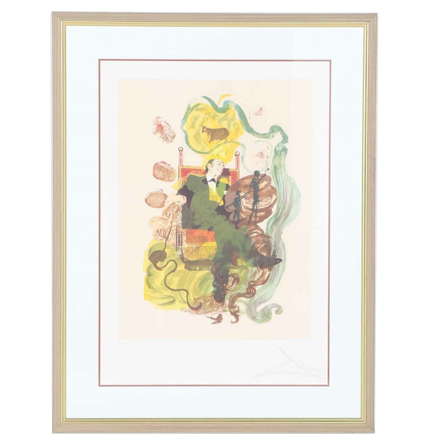 "Limited Edition Salvador Dalí Lithograph ""Dalí Dreams, King of Coins"""