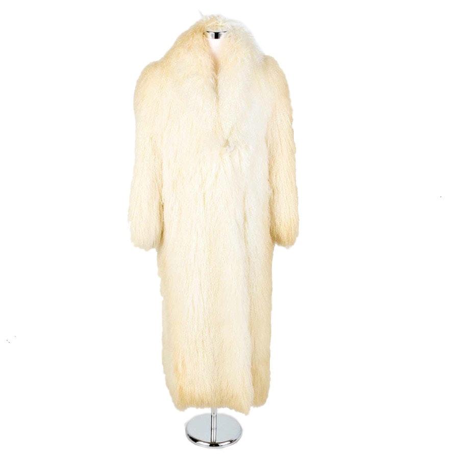 White Mongolian Lamb Fur Coat