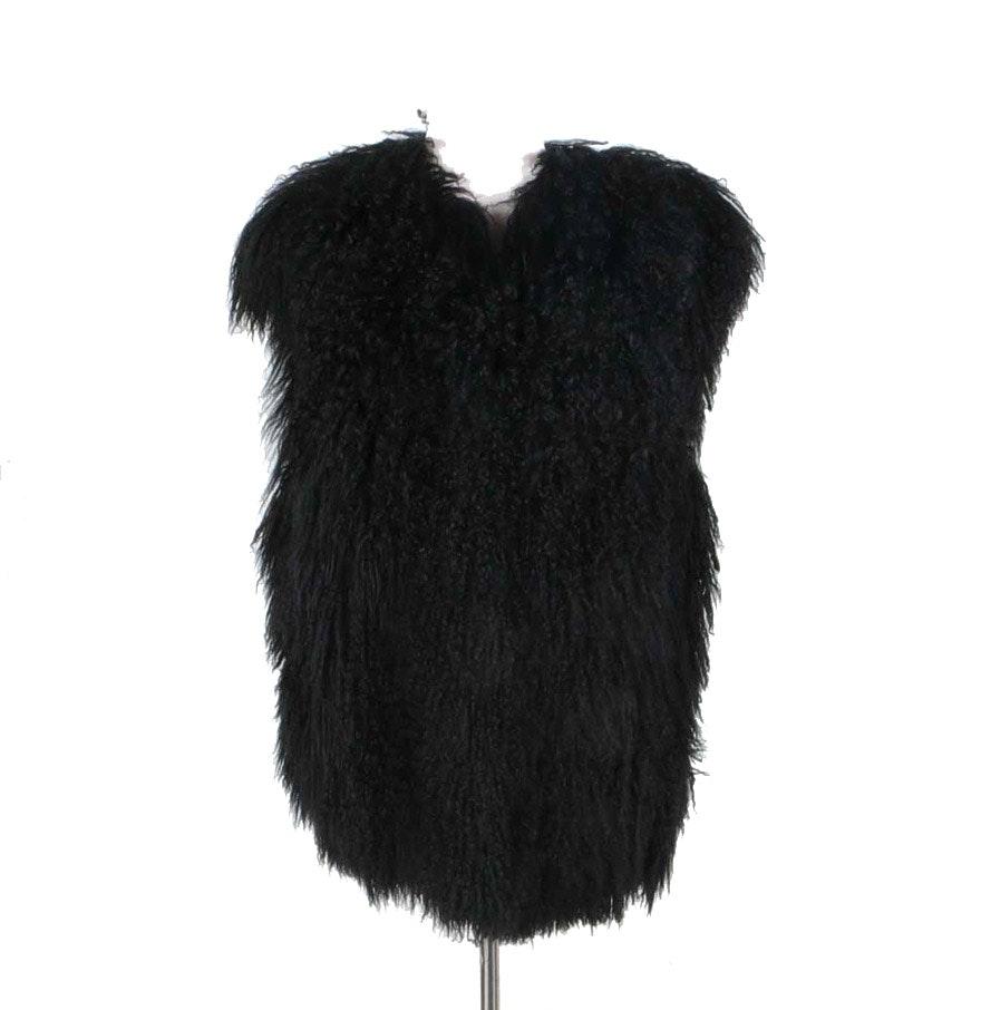 Black Mongolian Lamb Fur Vest