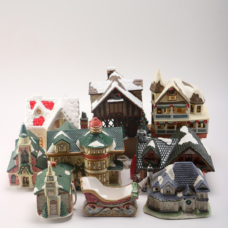 assortment of ceramic christmas village houses - Ceramic Christmas Houses