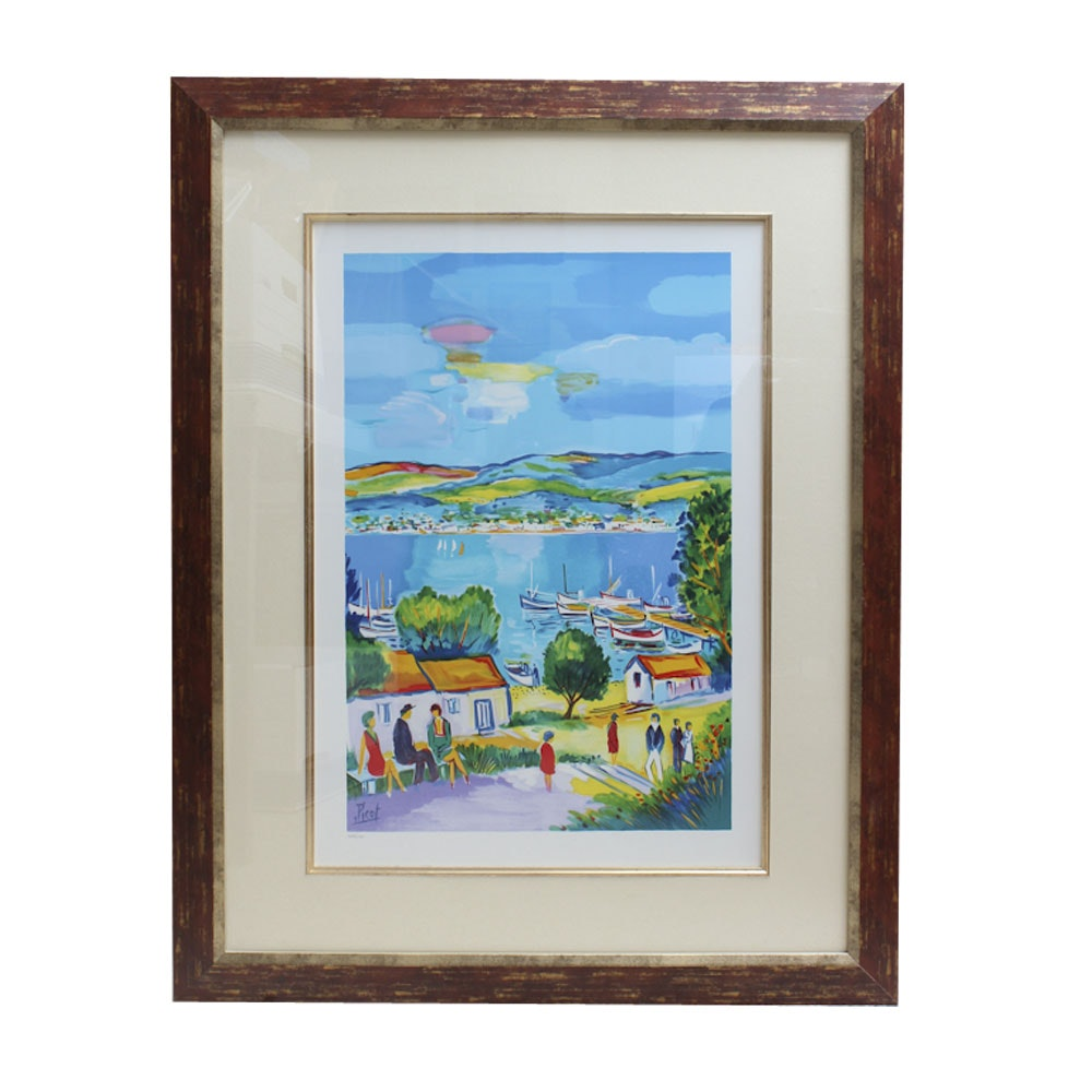 "Framed ""L'embarcadese"" Lithograph After Jean-Claude Picot 1993"