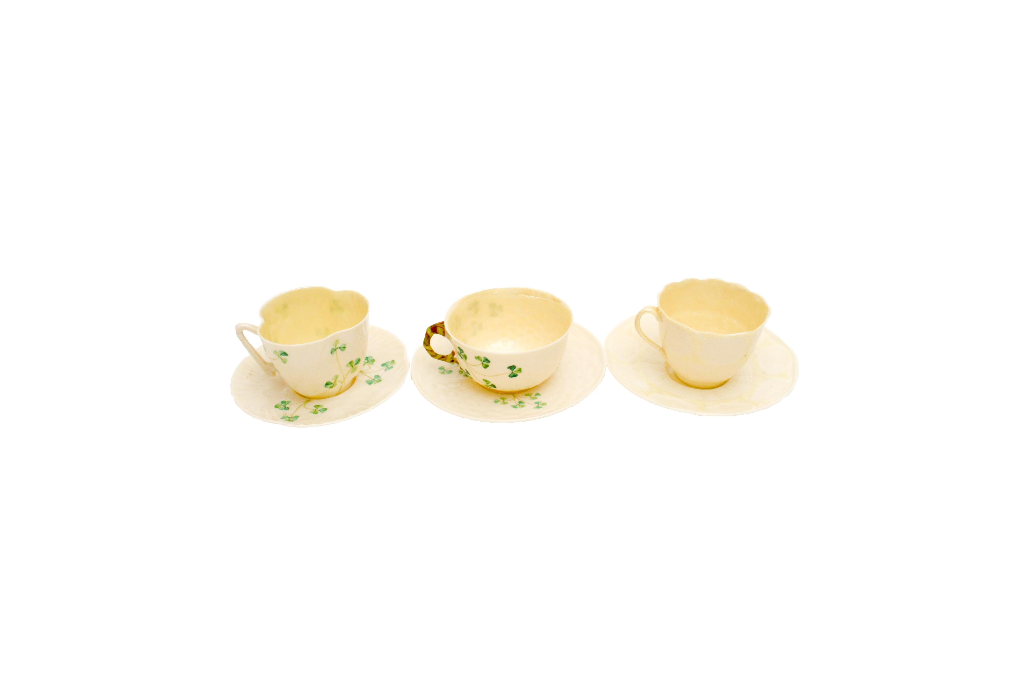 Collection of Belleek Teacups and Saucers