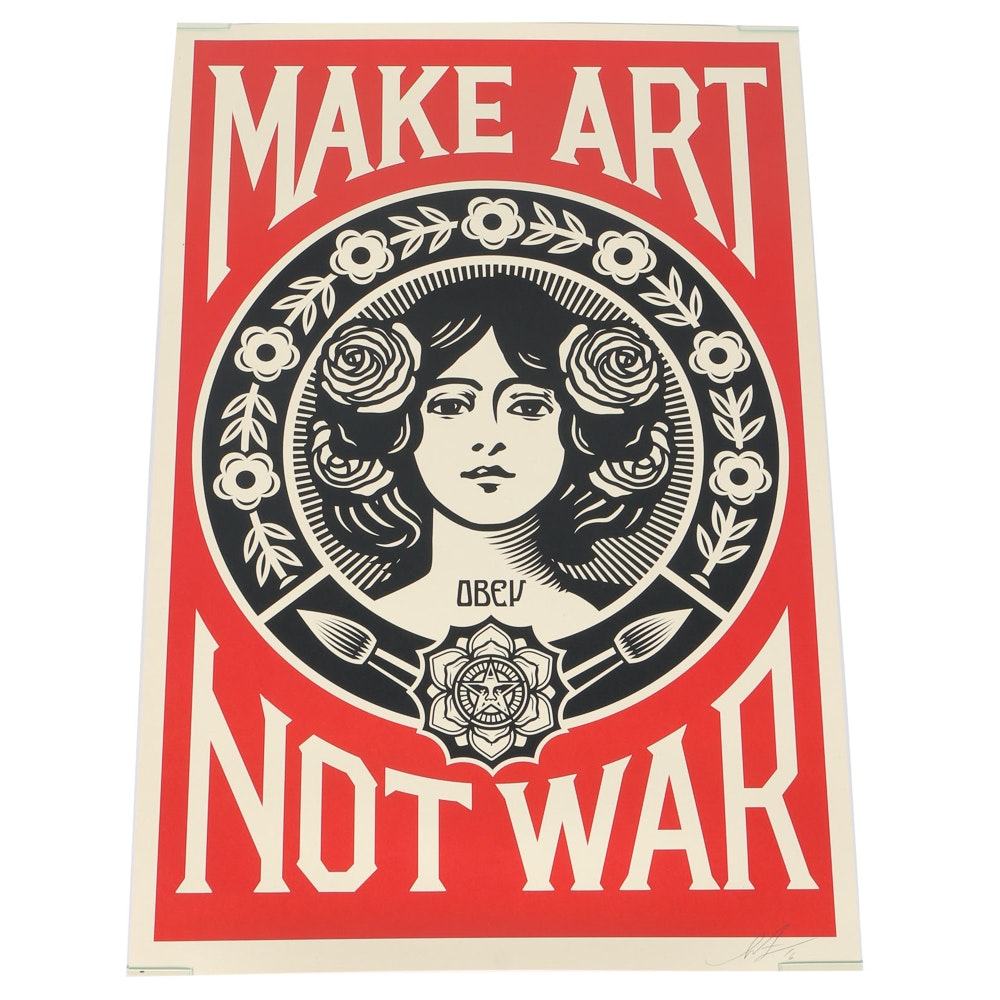 "Shepard Fairey Signed Lithograph ""Make Art Not War"""