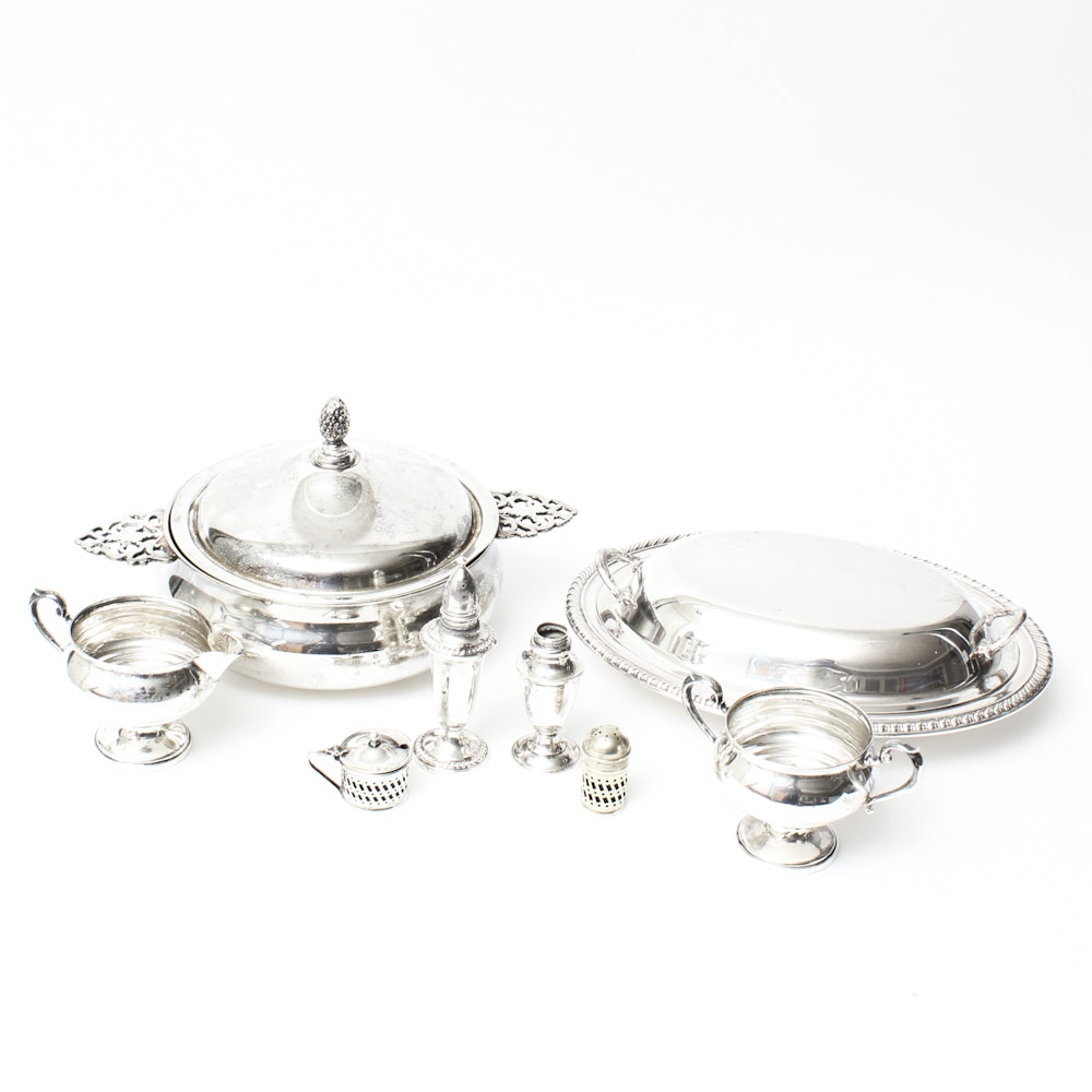 Collection of Weighted Sterling and Silver Plate Tableware