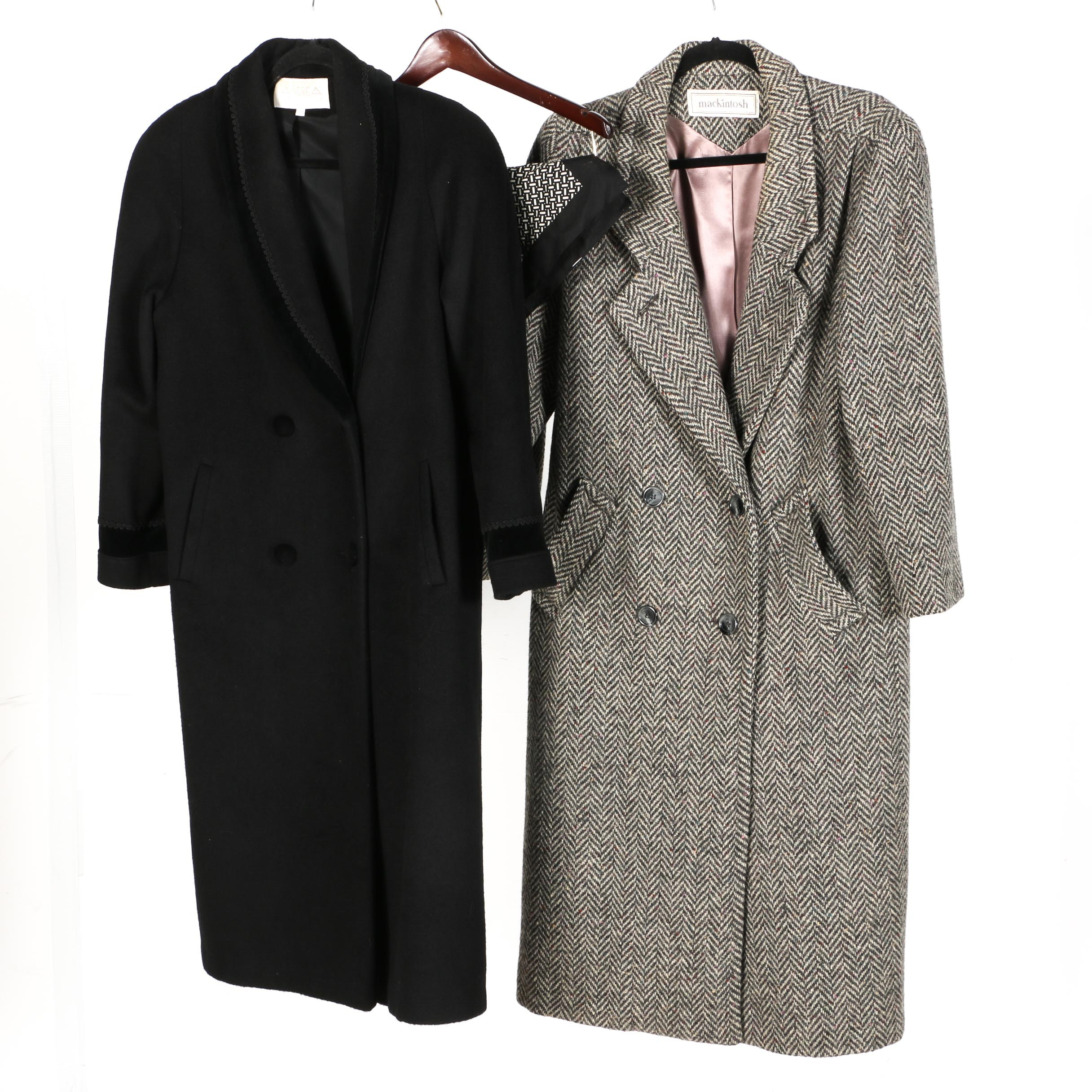 Women's Wool Coats with Dress Scarf