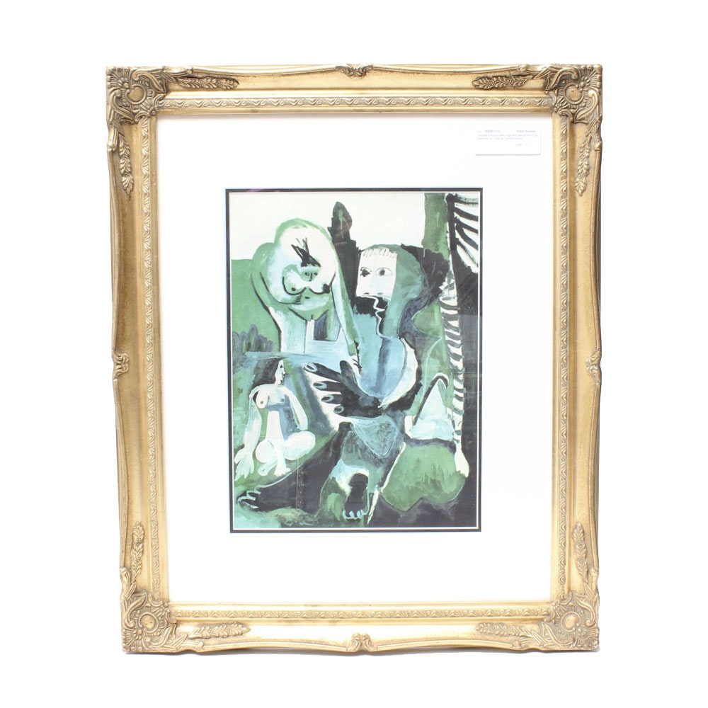 "Framed Photo Offset Lithograph ""Le dejeuner sur L'Herbe"" after Pablo Picasso"