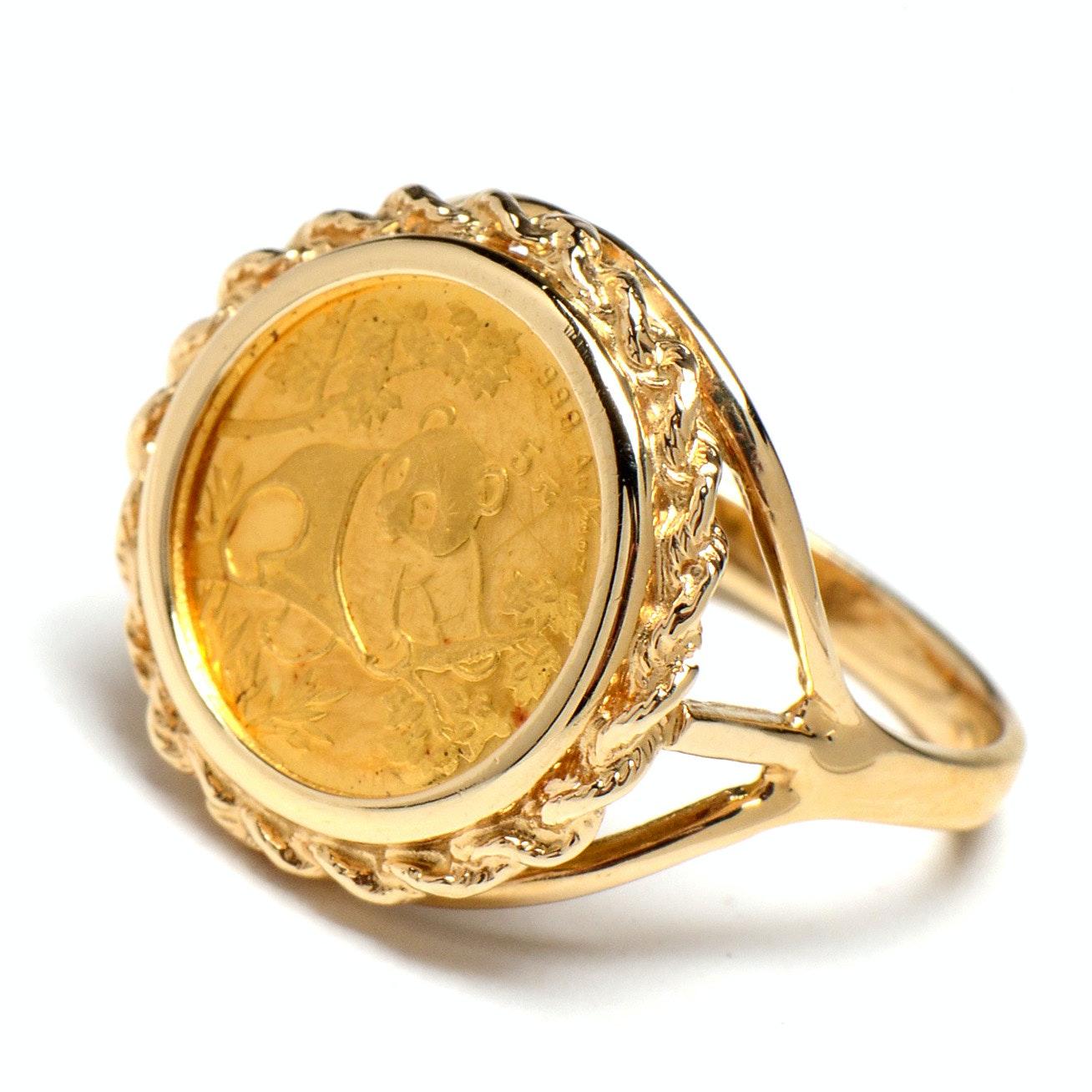 14K Yellow Gold Signet Ring with 24K Gold Chinese 5 Yuan Panda Coin