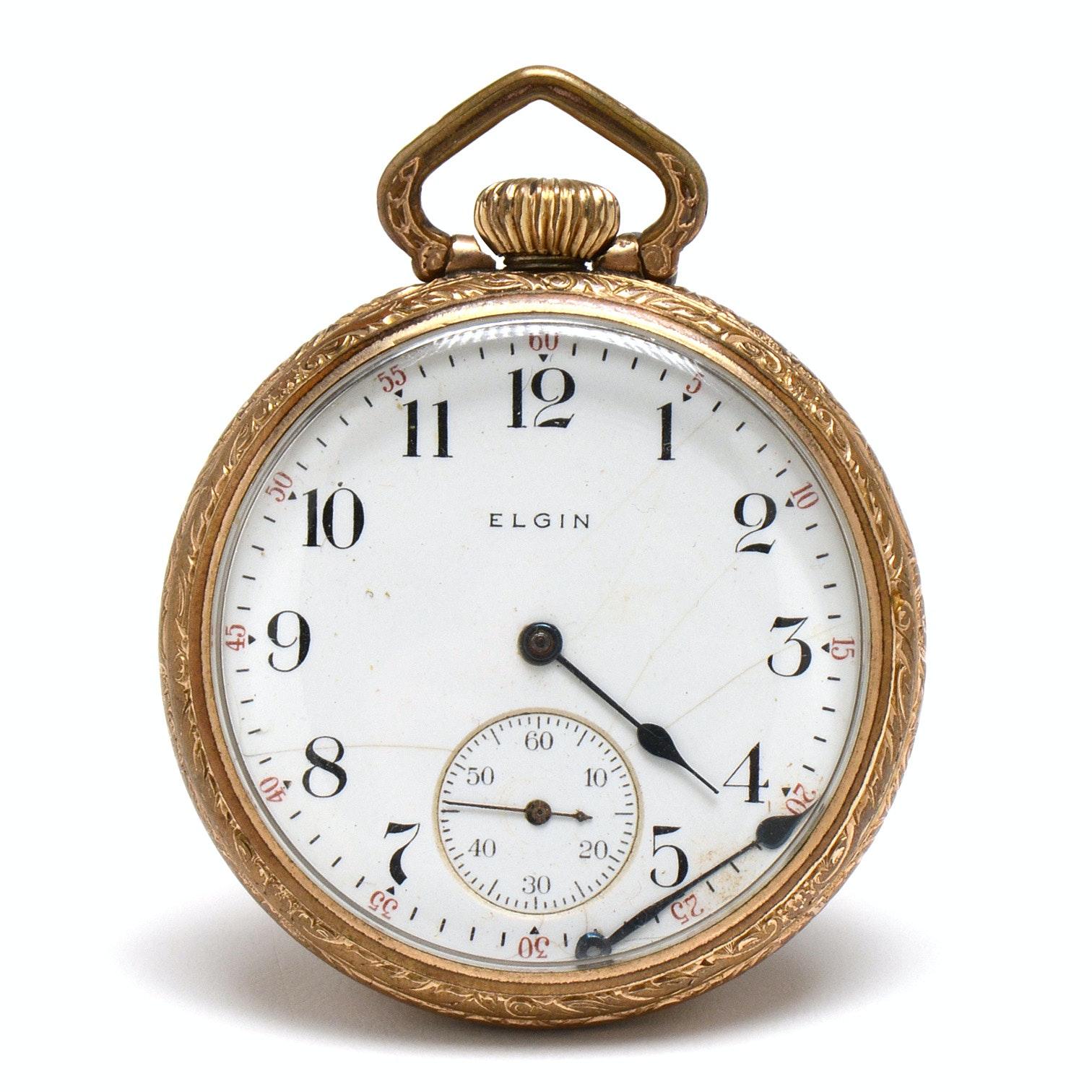 Vintage Elgin Gold-Filled Open Face Pocket Watch
