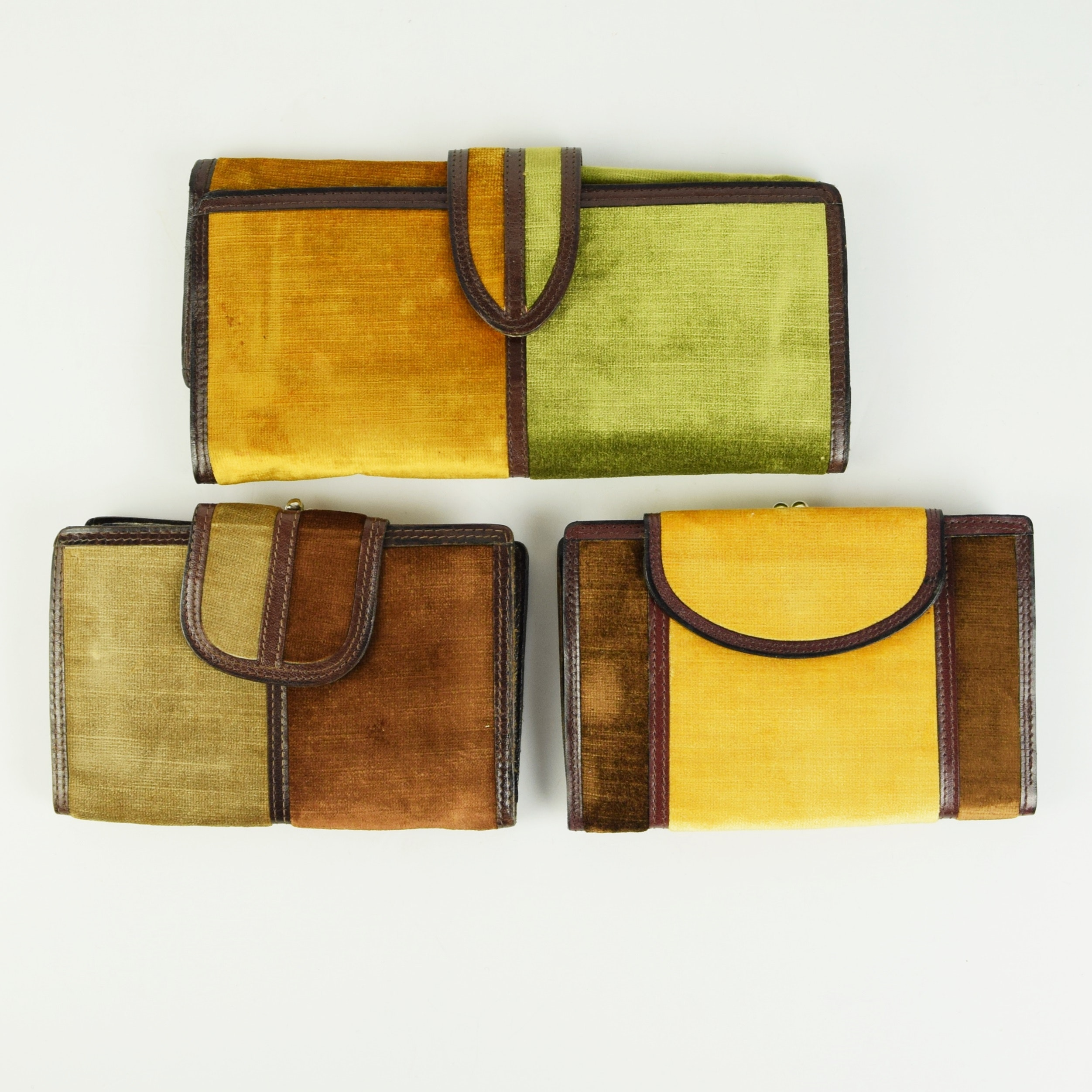 Vintage Italian Leather and Velvet Wallets and Jewelry Pouch