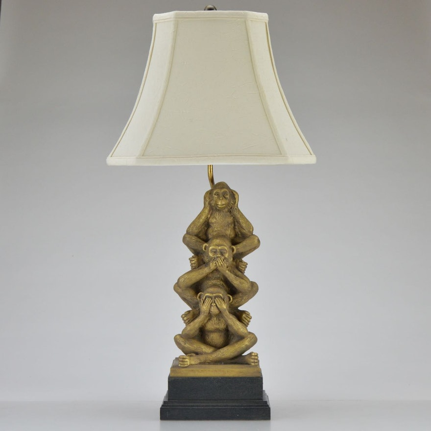 Three wise monkeys table lamp ebth three wise monkeys table lamp mozeypictures Choice Image