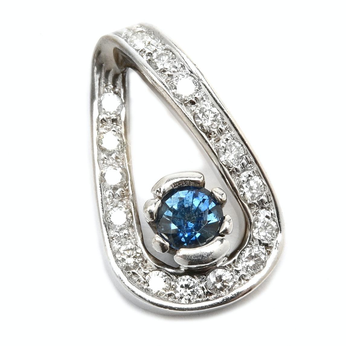 14K White Gold Natural Blue Sapphire Diamond Pendant