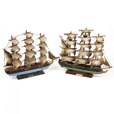 Pair of Antique Model Sailing Ships
