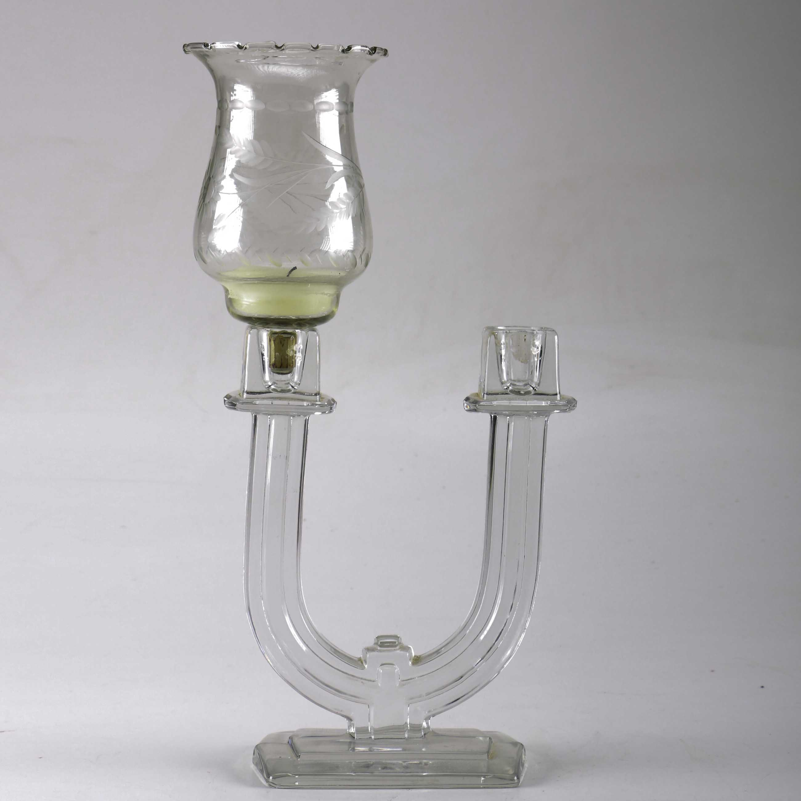 Glass Candelabra with Hurricane