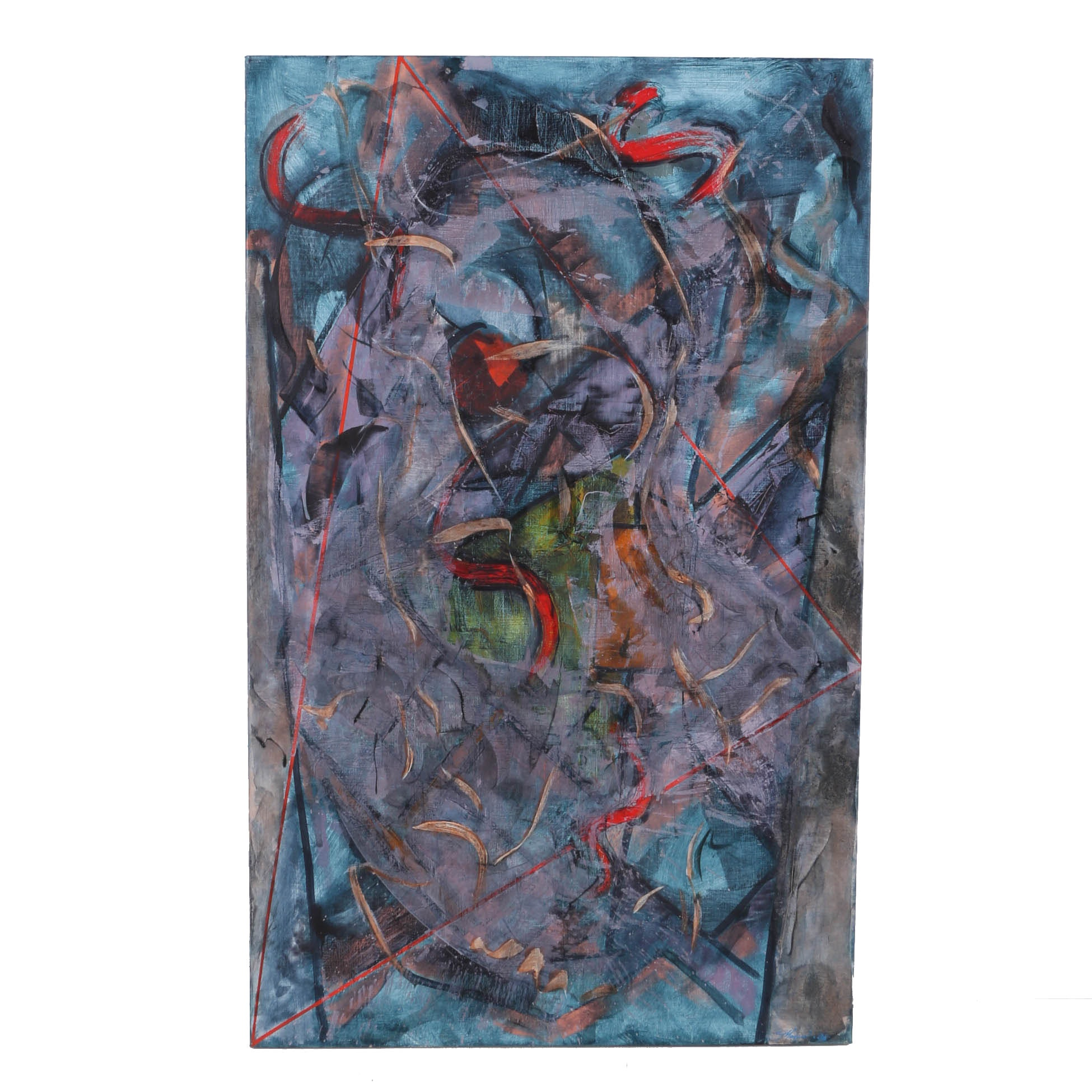 """Ricardo Morin Oil Painting on Linen """"Triangulation Series Number 14"""""""