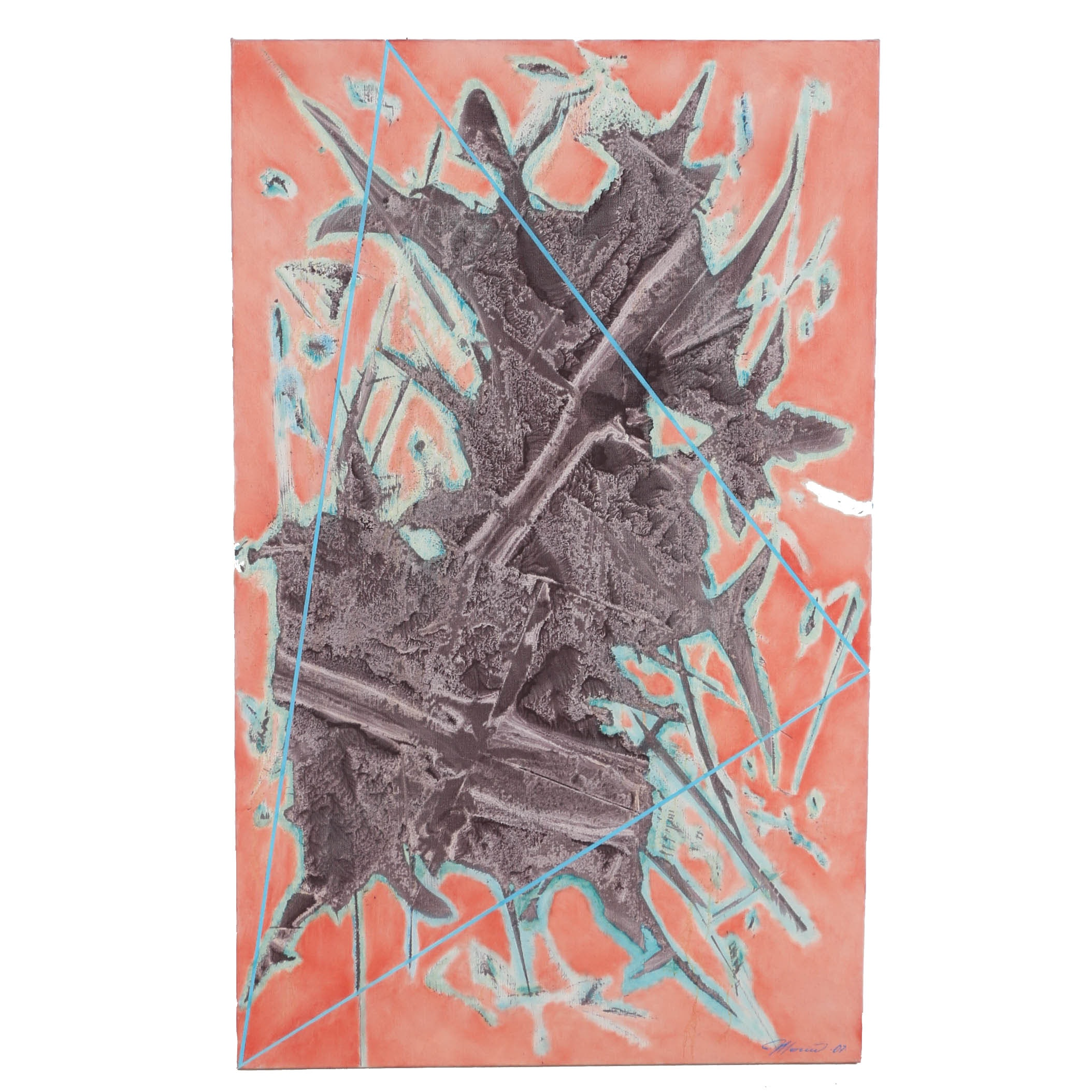 "Ricardo Morin Oil Painting on Linen ""Triangulation Series No. 19"""