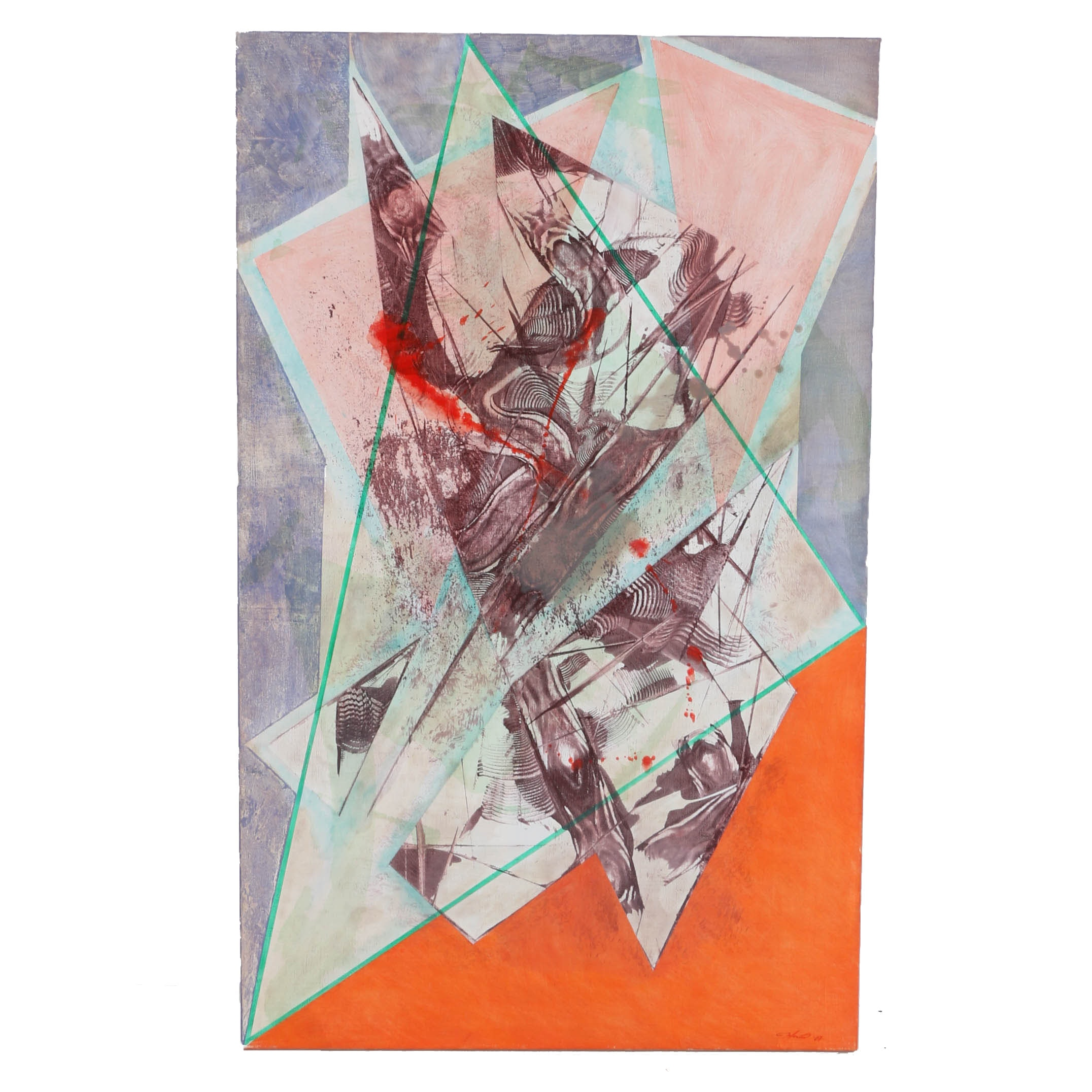 "Ricardo Morin Oil Painting on Linen ""Triangulation Series No 23"""