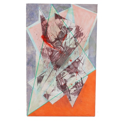 "Ricardo Morin Oil Painting on Linen ""Triangulation Series No 23"""