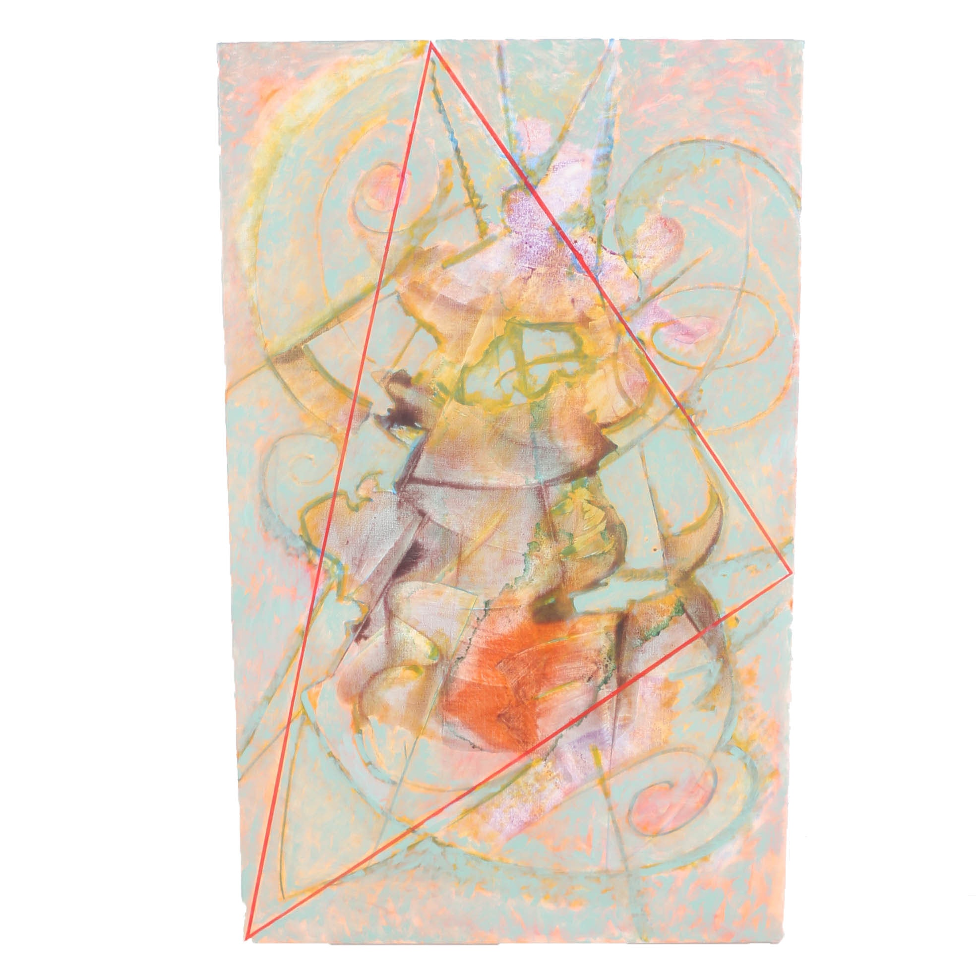 "Ricardo Morin Oil Painting on Linen ""Triangulation Series No. 28"""